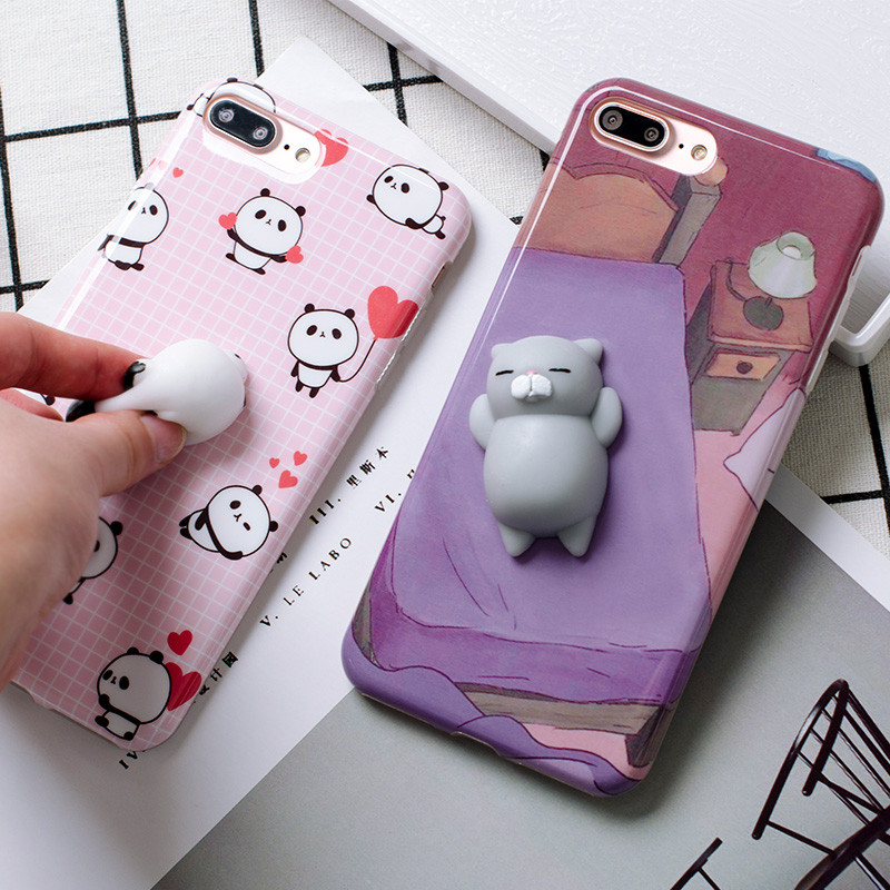 Squishy Cat For Phone Case : Squishy 3D Cartoon Panda Cat Phone Cases For iPhone 6 6S Plus 7 7Plus Funny Cute Soft Silicon ...