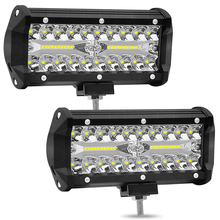 7inch 12000LM/PCS 120W/PCS Super bright three-row LED off-road headlights, work lights SUV fog lights. (1PCS) (2PCS)