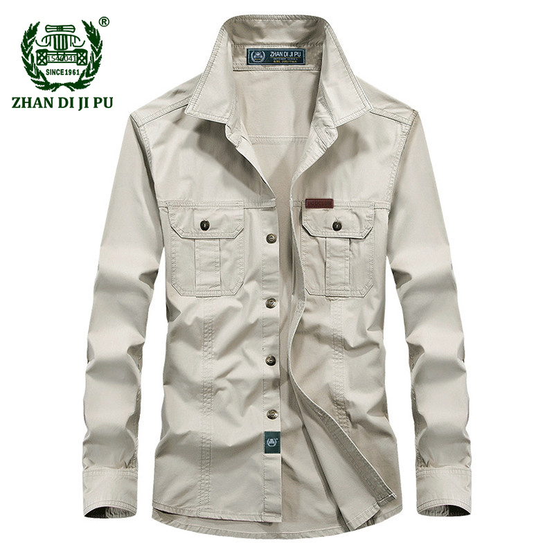 Plus Size M-6XL Military Quality Shirt 2018 Europe Men's Autumn Casual Brand Afs Jeep Man Spring 100% Cotton Long Sleeve Shirts