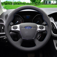 For Ford Focus Kuga Sport Black leather DIY Hand Sewing steering wheel cover car accessories