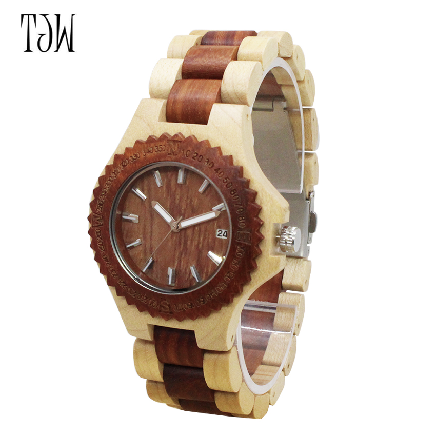 TJW Hot Sale japanese Wooden wristwatches genuine leather men bamboo  wooden  watches  fo  r men  and women japanese miyota 2035 movement wristwatches genuine leather bamboo wooden watches for men and women gifts relogio masculino