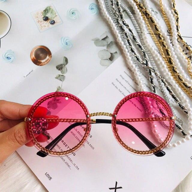 Chain Round Sunglasses Women 2019 Big Shades Metal Gradient Lens Luxury Brand Designer Fashion Red Sunglasses UV400