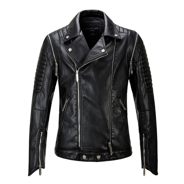 Factory 2017 New Autumn Fashion Men's Leather Jacket Punk Bomber Biker Motorcycle Jackets Chaqueta Cuero Hombre