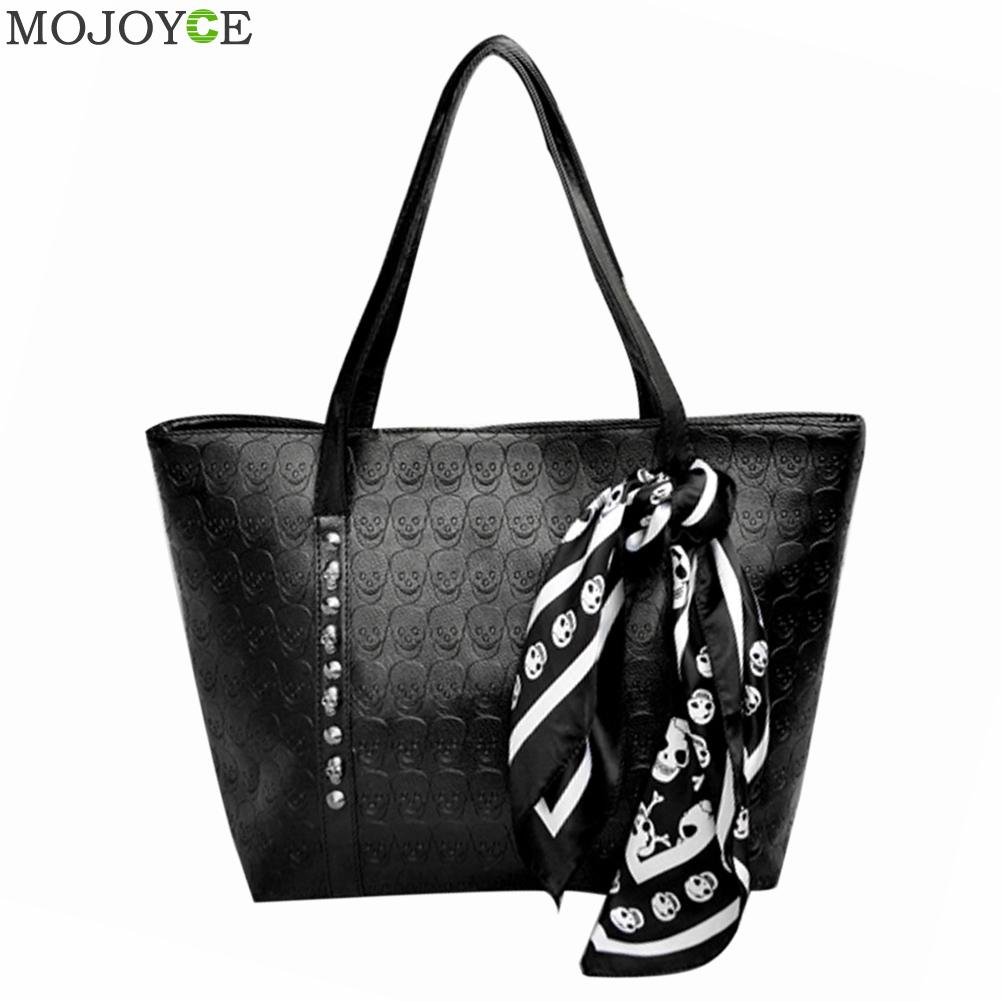 New Fashion Women Leather Handbag PU Ladies Skull Printed Shoulder Bag Large Ca
