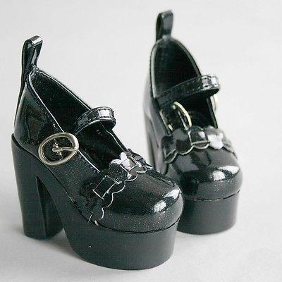 [wamami]55# Black 1/4 MSD DOD BJD Dollfie High-Heels Synthenic Leather Shoes 1 3 1 4 1 6 1 8 1 12 bjd wigs fashion light gray fur wig bjd sd short wig for diy dollfie