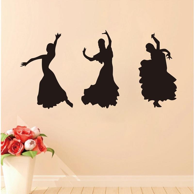 105x60cm Large size Latin ballroom dancer wall decor stickerswall decals dancer for dance studiop0244