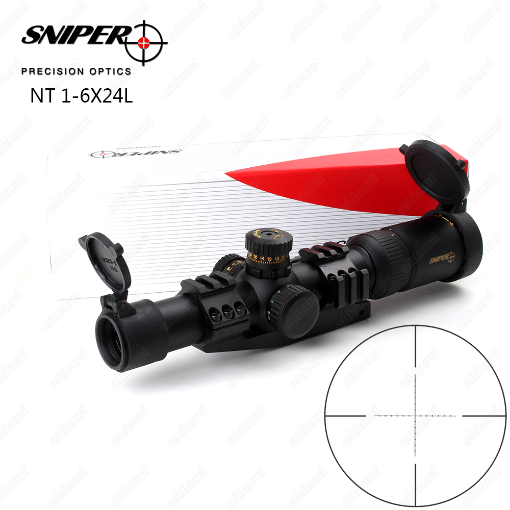 SNIPER NT 1-6X24 L Hunting Riflescopes Tactical Optical Sight Compact Mil dot Glass Etched Reticle R/G llluminate Rifle Scope magpul g lt p moe sniper rifle limited edition