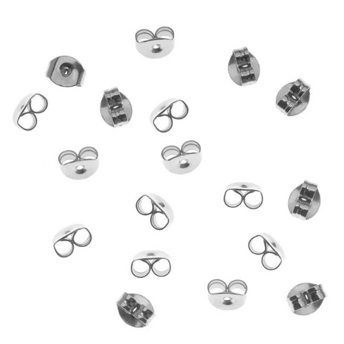 ELOS-High Quality 100pcs/lot Stainless Steel Earrings Jewelry Metal Ear Earring Back Earring Stopper DIY Jewelry Accessories