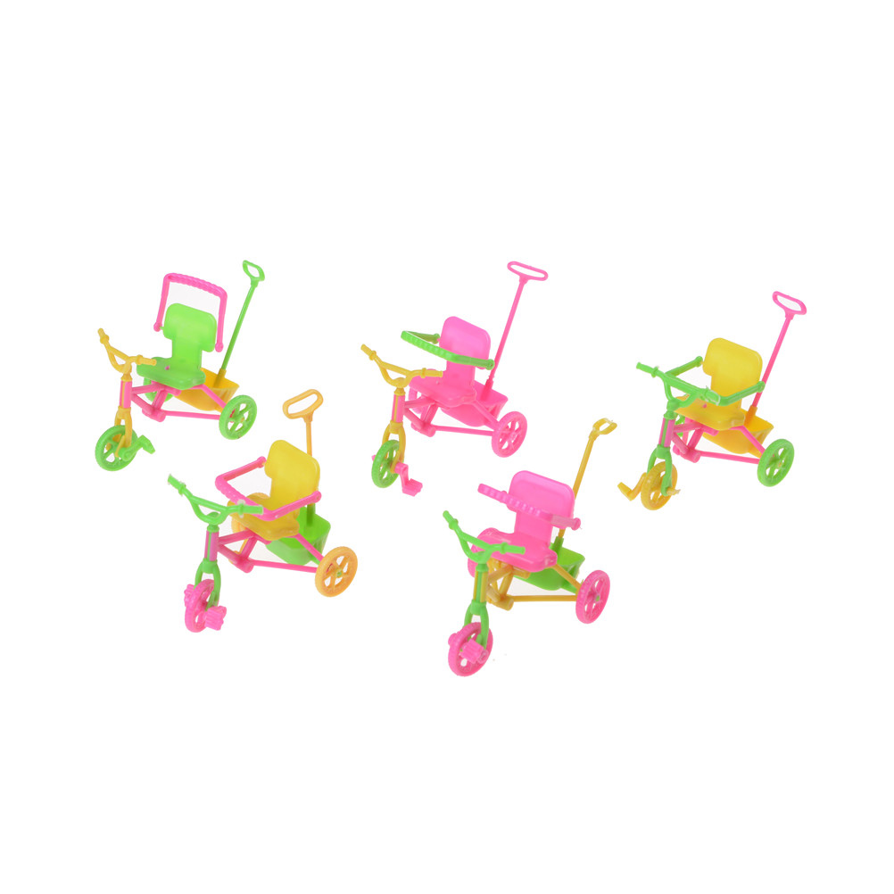 10 cm Plastic Kids Tricycle with Push Handle for Dolls Accessories Dollhouse Miniature Kids Cute Toy Gift Random Color | Happy Baby Mama