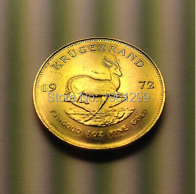 2 Pieces / 1972 South African Krugerrand 1 Ounce Gold-plated Commemorative Coin Medals Foreign Gold Coin Collection Playing