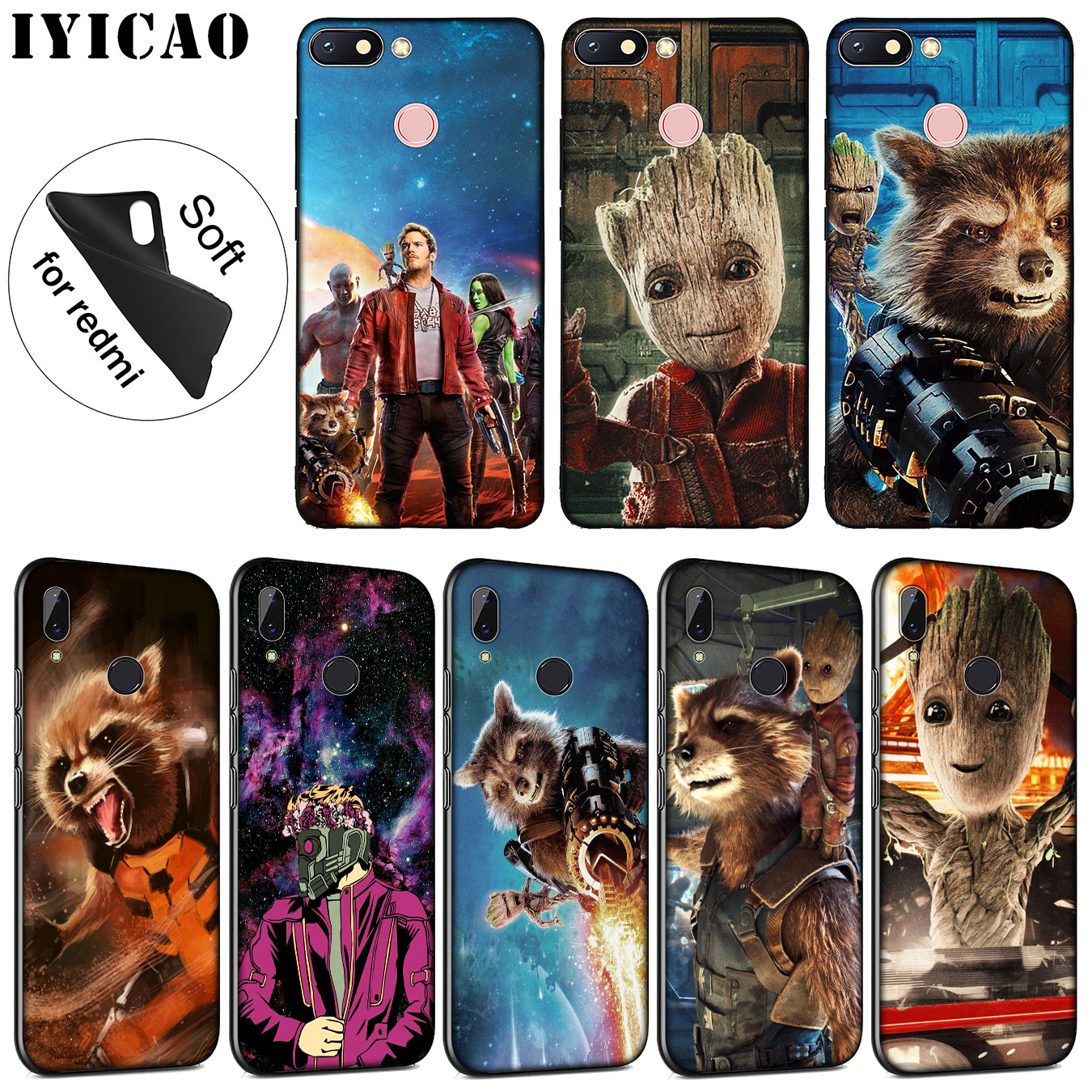 IYICAO Guardians of the for Galaxy <font><b>Marvel</b></font> Soft Silicone <font><b>Case</b></font> for <font><b>Xiaomi</b></font> <font><b>Redmi</b></font> K20 8A 7A 6A 5A S2 4X 4A GO <font><b>Note</b></font> 8 7 5 Plus 6 Pro image