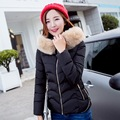 Women Winter Thicking Outerwear Down Jacket Cotton Short Slim Warm Thicken Cotton-padded Pure Color Hooded Fur Collar Coat Parka