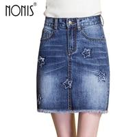 Star Embroidery Woman Denim Jeans Mini Skirts Blue Plus Size Hip Push Up Female New Short