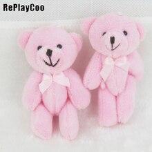 50 шт./партия, мини-соединение плюшевый медвежонок, плюшевая игрушка, набитая 8 см, розовые мишки тедди, фаршированный меховой шарик-подвеска, детские игрушки для свадебных подарков GMR031