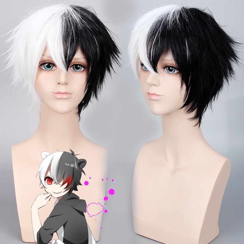 Anime Danganronpa Monokuma Wig Cosplay Costume Dangan Ronpa Women Men Short White Black Synthetic Hair Halloween Party Wigs