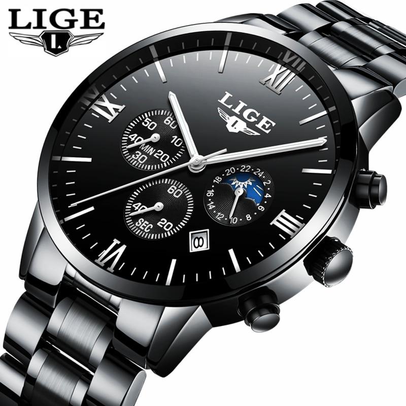 LIGE Mens Watches Top Brand Luxury Full Steel Clock Fashion Quartz Watch Men's Casual Waterproof Sport Watch Relogio Masculino