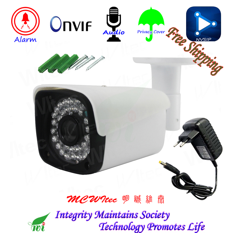 Metal CCTV H 265 Audio MIC Motion Alarm RTSP Privacy Cover 1080P Outdoor IP Camera Security
