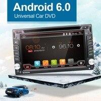 Quad Android 6.0 Audio Del Coche de Navegación GPS 2DIN Car Stereo Radio Bluetooth GPS USB/Universal Intercambiable Jugador + 8G MAPA