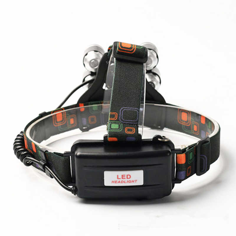XML T6 5 LED Headlight Headlamp Head Lamp 12000Lm 4 Mode Torch 2x18650 Battery+Charger Flashlight on the Forehead Fishing Lights