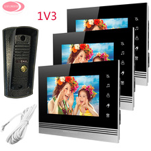 Discount! For 3 Apartment 7″ Monitor Video Door Phone Video Door Intercom System Night Vision Metal Waterproof Camera For Keys On The Wall