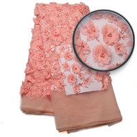 2017Fashionable Designs High Quality African 3D Flowers Lace Fabric African 3d French Lace Fabric With Beads