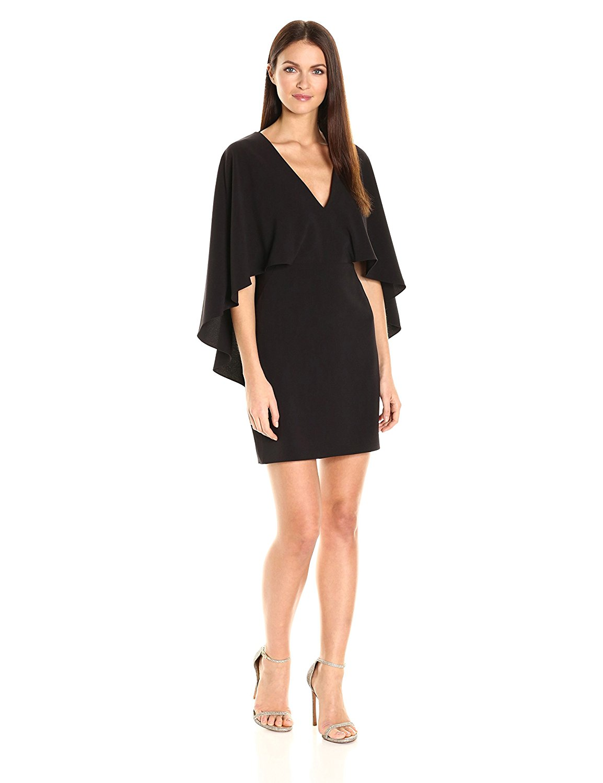 US $34.99 |Customized New Arrival Women\'s Flowy Cape Sleeve Double V Neck  Crepe Elegant Mini Dress Ladies Plus Size Dresses Vestido-in Dresses from  ...
