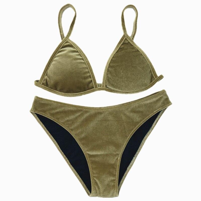 Velvet Bikini Set 2017 Women Swimsuit Monokini Bodysuit Swimming Suit Bathing Suits Swim Halter Thong Beach Swimwear Cikini