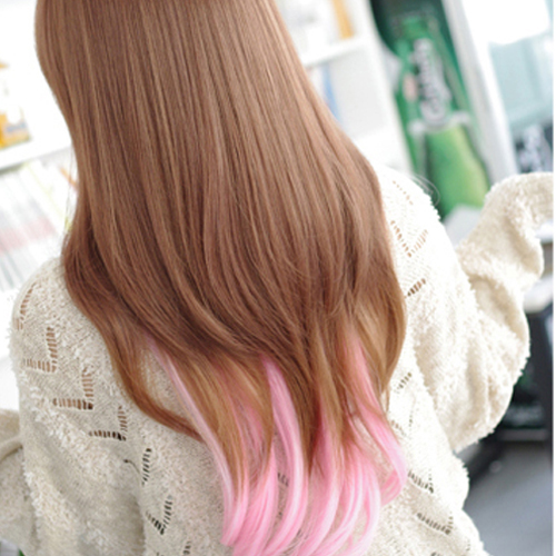 Fashion Lolita Halloween Hair Long Straight Light Brown Mixed Pink