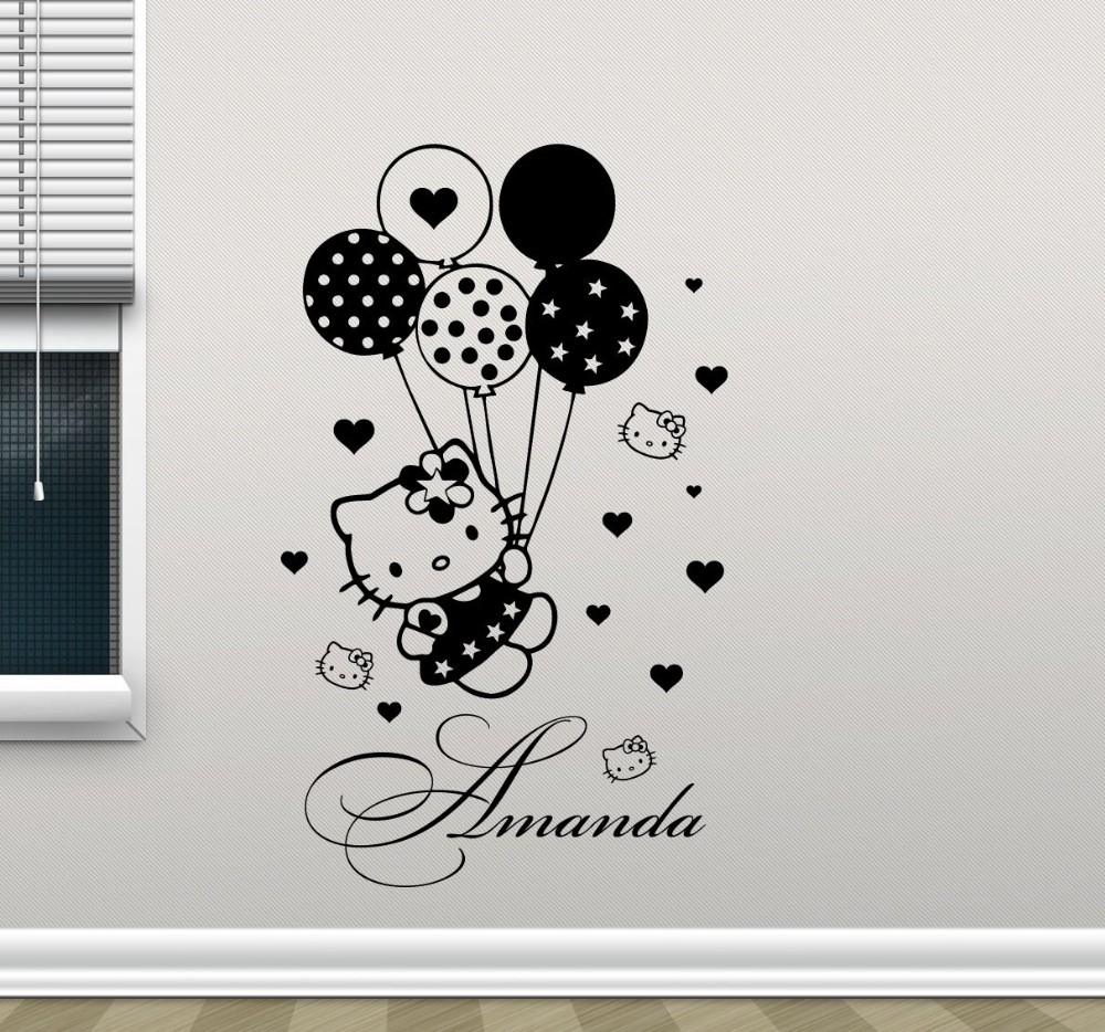 Free Shipping Kitty Wall Decal Balloons Girl Custom Name Cartoons Vinyl Sticker Baby Girl Boy Customized Pets Animals Wall decor