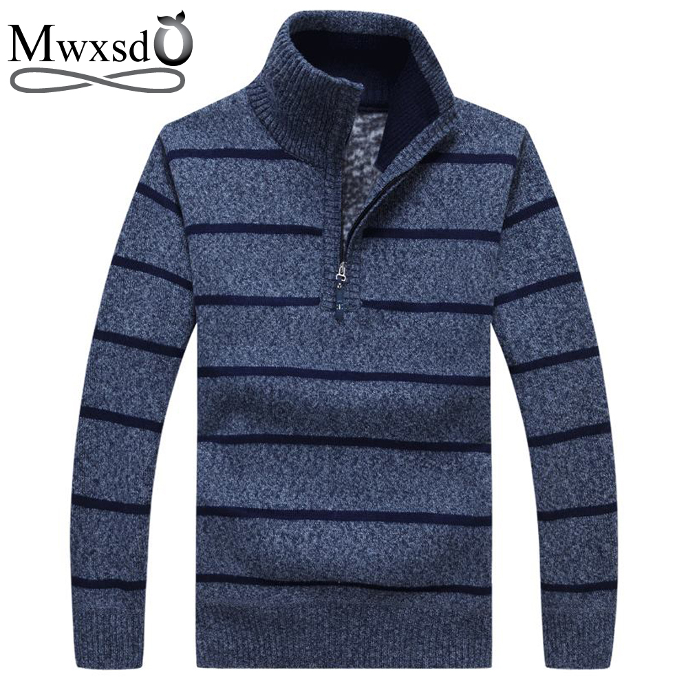 Mwxsd brand Men casual striped thick warm pullover sweater winter mens thick Half open collar Christmas sweater homme pull