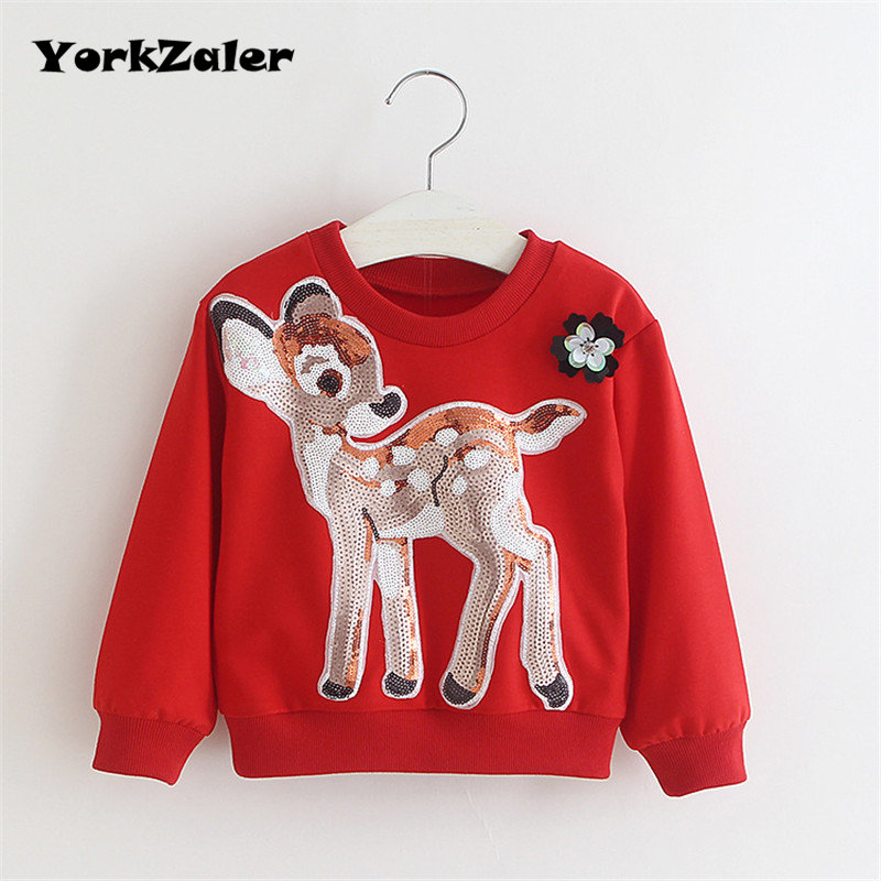 все цены на YorkZaler Kids Long Sleeve T-shirt Baby Girl Clothes Autumn Fashion Girls Sequin Deer Sweatshirt Pullover Tops Christmas Clothes онлайн