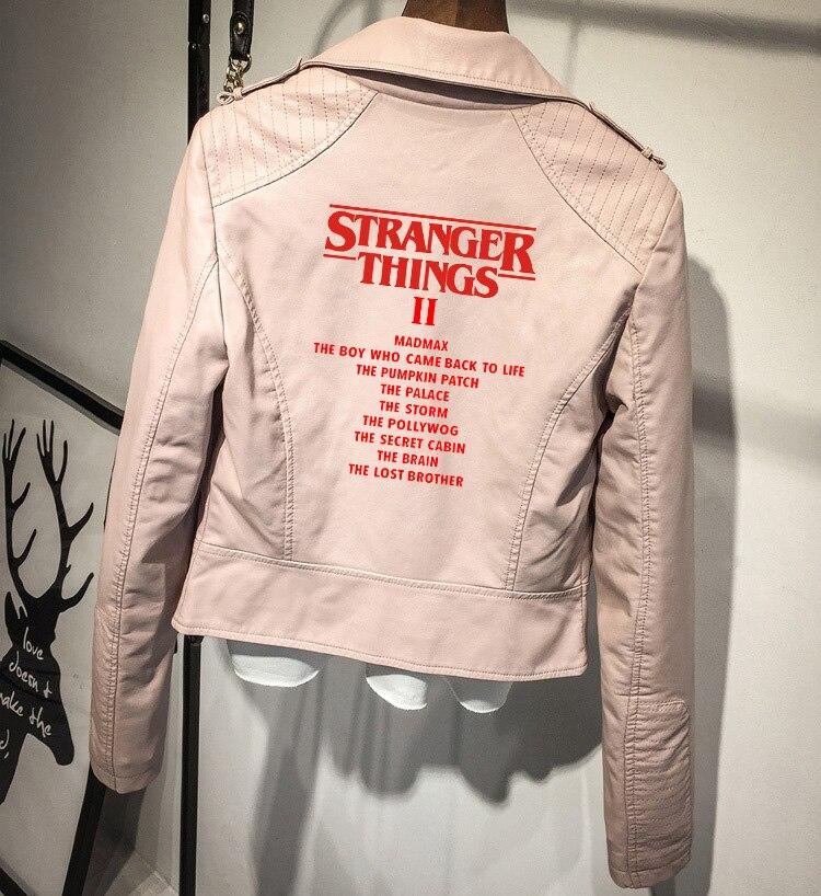 Frdun Tommy steanger things 3 PU veste en cuir Zipper veste d'extérieur nouveau 2018 hiver et automne manteau femmes nouvelle couleur de mode