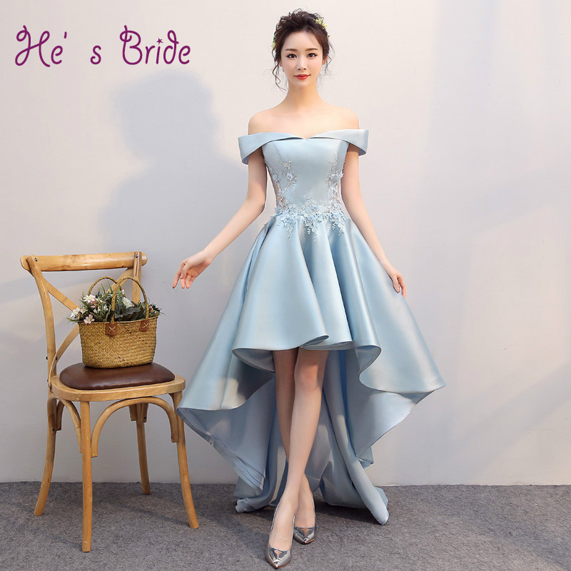 Evening Dress Elegant Light Blue Boat Neck Short Sleeves