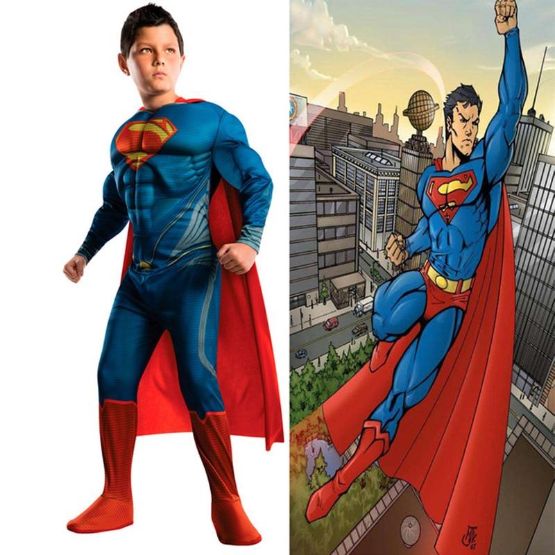 Cosplay Kids Deluxe Muscle Christmas Superman Halloween Costume for children  superhero movie man of steel cosplay new