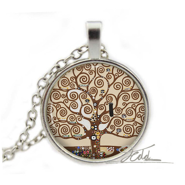 17 style tree of life necklace pendant gustav klimt jewelry vintage bronze painting gift woman glass