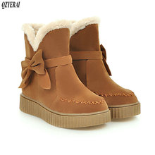 QZYERAI New arrival winter plush warm snow boots women flat tasseled bow shoes size 34-43