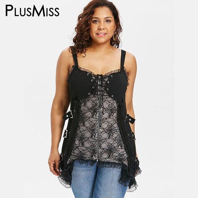 b2e371ddf4140 PlusMiss Plus Size Sexy Lace Punk Rock Gothic Cami Tops Women 5XL Lace Up  Spaghetti Strap Vest Camisole Big Size XXXXL XXXL XXL