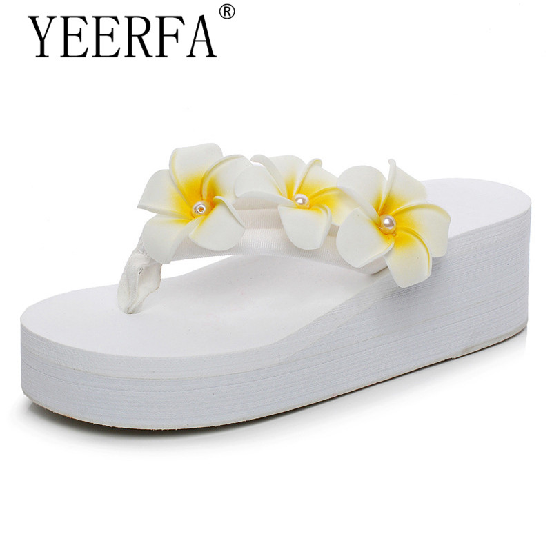 YEERFA 2017 Wedges Sandals Beach Flowers Flip Flops Slip On Flats Platform Shoes Woman Casual Creepers Pearl Slippers SIZE 35-41 lanshulan bling glitters slippers 2017 summer flip flops platform shoes woman creepers slip on flats casual wedges gold