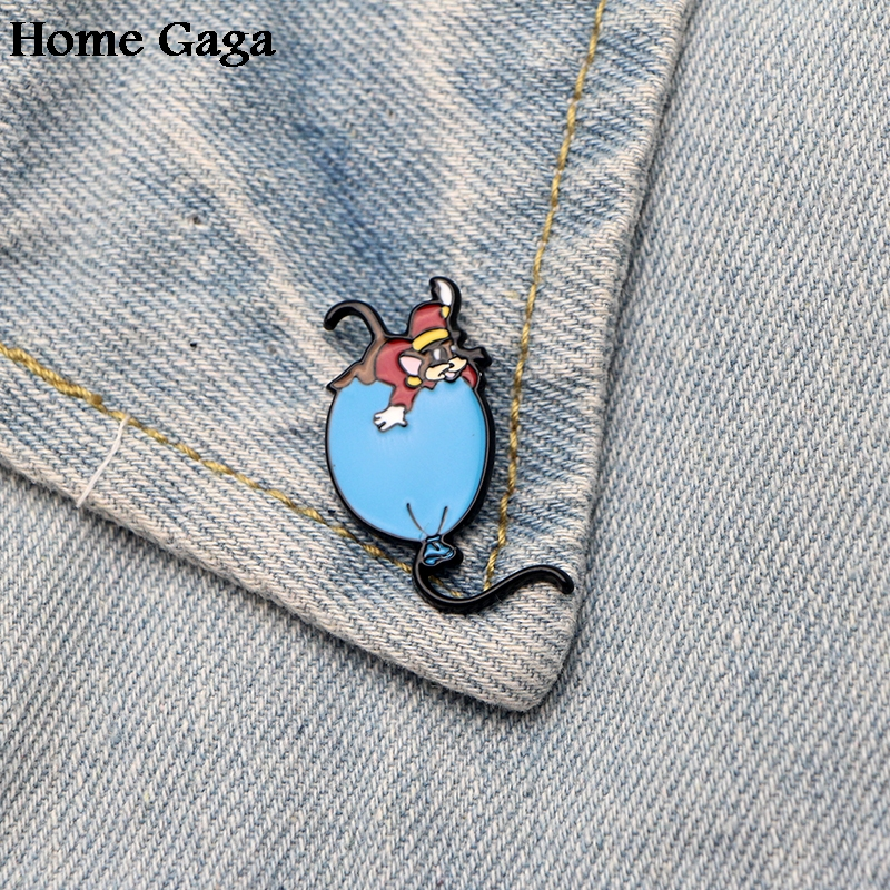Badges Homegaga Mouse Balloon Zinc Tie Cartoon Funny Pins Backpack Clothes Brooches For Men Women Hat Decoration Badges Medals D1376 We Take Customers As Our Gods