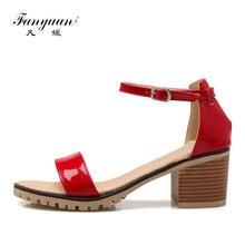 e2f990709d Fanyuan Mulher Sapatas do Verão Sandálias Da Marca Mulheres Elegantes  Sandálias com Tira No Tornozelo Senhoras de Salto Alto San.