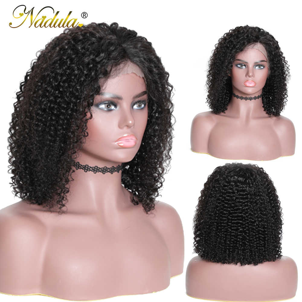 Nadula Haar Kort Krullend Pruik 13*4 Korte Menselijk Haar Kant Pruiken Remy Human Hair Pruiken Lace Pruik Met baby Haar Natuurlijke Haarlijn