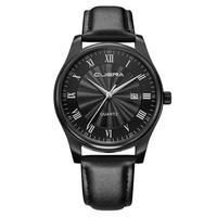 CUENA Men Quartz Wristwatches Casual Checkers Faux Leather Quartz Analog Wrist Watch With Calendar Leather Band