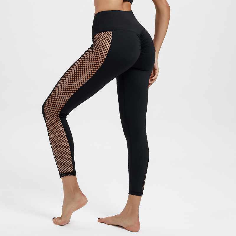 JIEZuoFang Black High Waist   Leggings   Women Mesh Patchwork Push Up   Legging   Fitness Pants Breathable Polyester Sport   Leggings