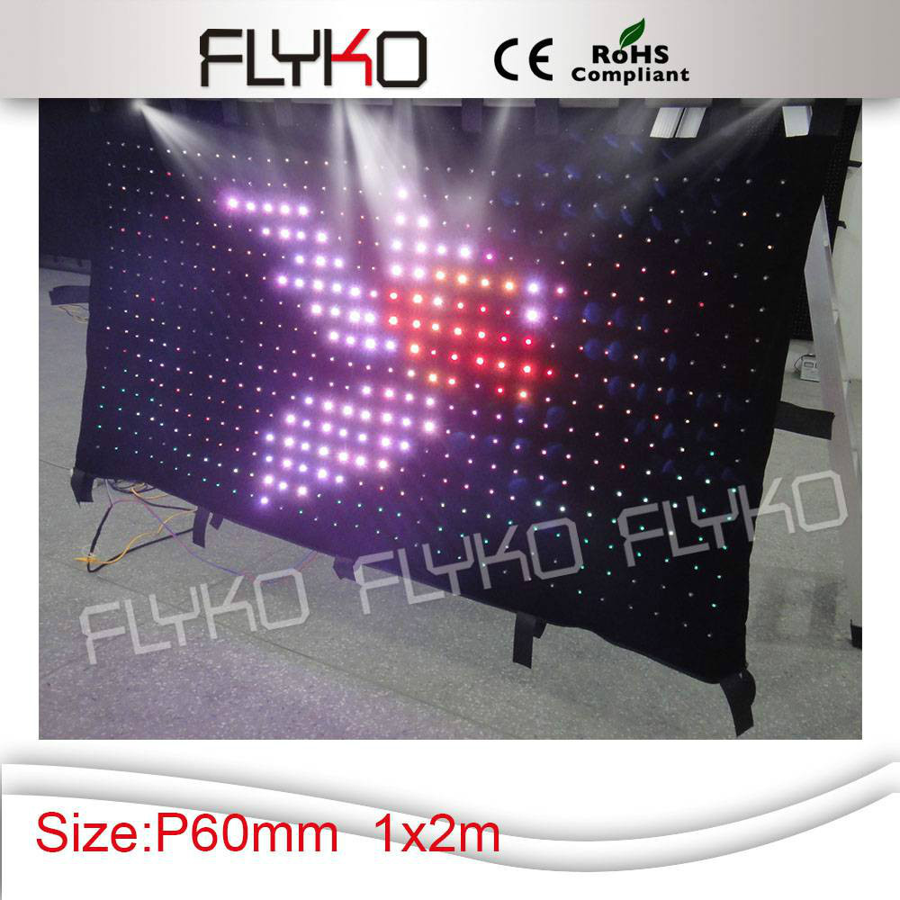 Free shipping 2M*1M P6  hot sale colourful effects led video Curtain