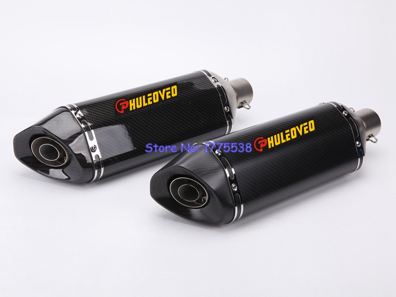 PHULEOVEO ID:51mm L:470mm Universal Motorcycle Exhaust Muffler Escape with DB Killer Motorbike Carbon Fiber Exhaust Muffler