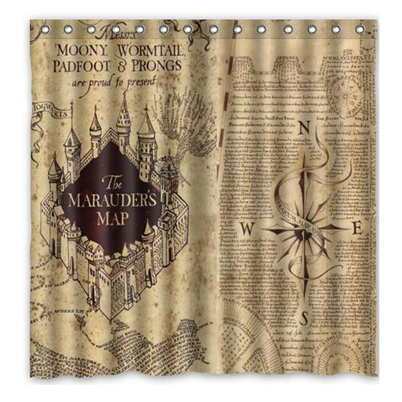 Aplysia Magic Map Harry Potter Design Polyester Fabric Shower Curtain Movie Poster Waterproof Mildew Proof Bath Curtains