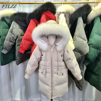 FTLZZ Kids Real Raccoon Fur Down Girl Jacket 2018 Winter Kids Warm Thick Hooded Long White Duck Down Coats For Girls Teenage