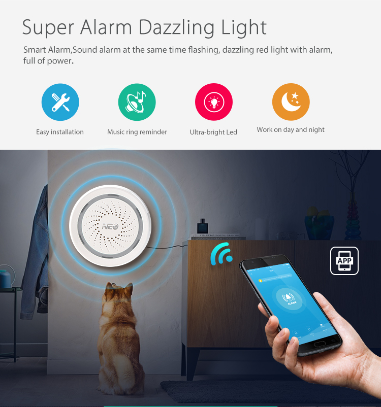 Wireless WiFi Siren Alarm Sensor Battery-Powered Can Be Charged With USB For Home Security Alarm System Remote Control Device