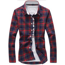 5XL Plaid Shirts Men Checkered Shirt Brand 2019 New Fashion