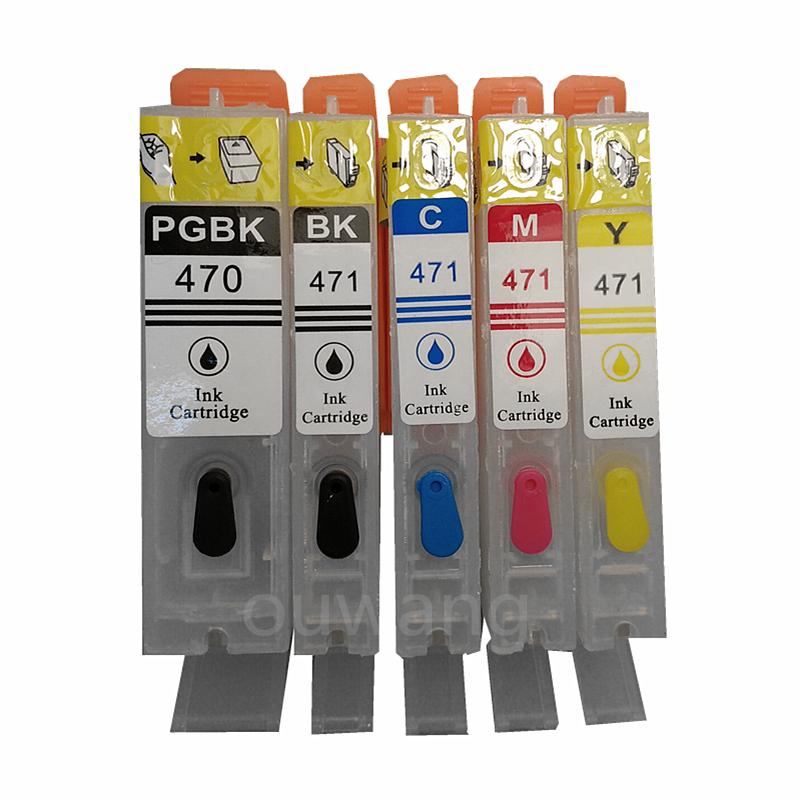 5PCS PGI470 PGI-470 PGBK CLI-471 BK C M Y refillable ink cartridges For canon MG5740 MG6840 TS5040 TS6040 with auto reset chips 1set 5pcs pgi 670 cli 671 empty refillable ink cartridges for canon pgi670 cli671 pixma mg5760 mg7760 mg6860